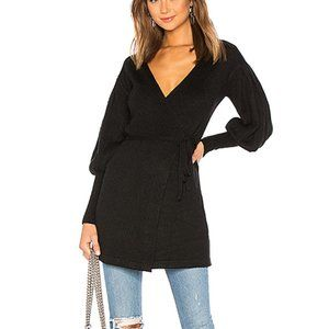 NWT Lovers + Friends Black Jane Wrap Sweater Dress